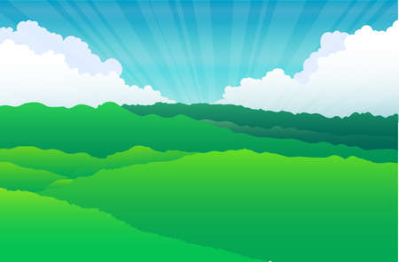Mountain with cloud and grass Stock Vector - 20298505