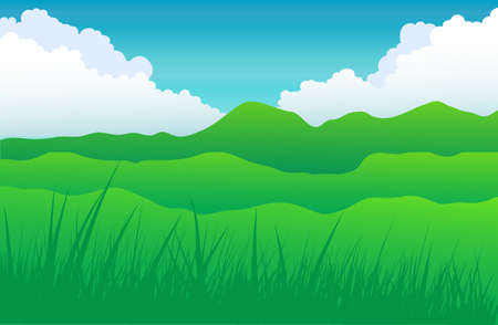 Mountain with cloud and grass Stock Vector - 20298501