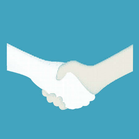 handshake color halftone Illustration