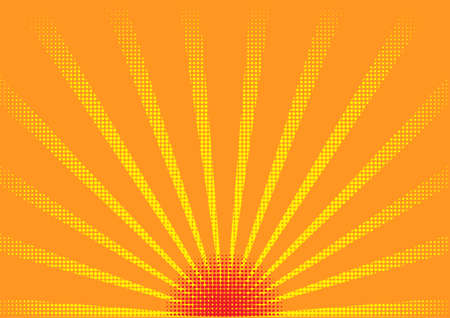 sunset color halftone Vector