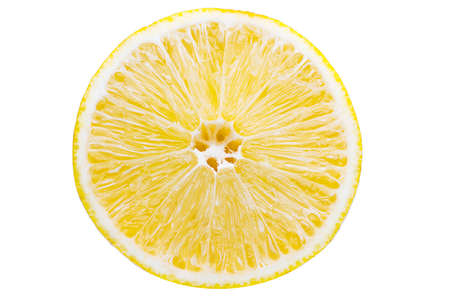 Surface of cuted lemon isolated on white background with Clipping path