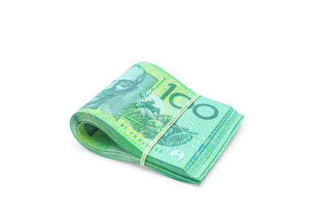 Folded of Australian banknotes isolated on white background with clipping path.