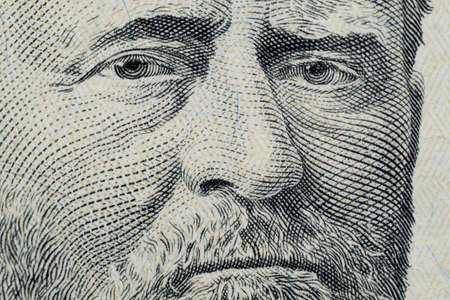 Close up on US dollar banknotes.  Portrait of Grant on US dollar Banknotes. Shooting by 1:1 Macro lense. Editorial