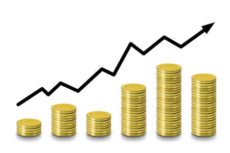 Stack of Coins, Financial, Business Saving and Interest increasing concept with graph on white background.