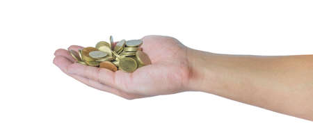 Male hand holding golden coins. Saving, money, finance donation, giving and bussiness concept. Isolated on white background with clipping path.