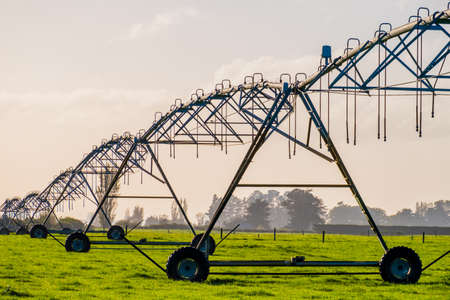 Agriculture modern irrigation. watering spray machine set on the green grassland field with blue sky and warm light scene.