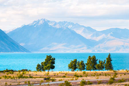 Beautiful scene of blue lake and yellow grassland with mount cook beside lake Tekapo before sunset.