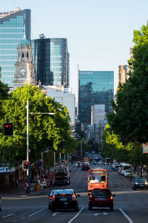 2017, DEC 4 - Auckland, NEW ZEALAND, Photo of the trafic and buildings in Auckland CBD