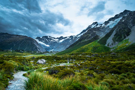 Beautiful scene of Mt Cook and environment while trek on Hook Valley Track. New Zealand. Stock Photo