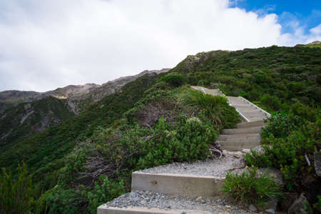 Beautiful scene of strars walk way to the top of the mountain in Mt Cook National park (Mullers Huts track)
