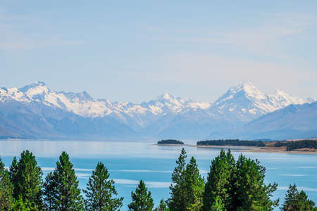 Beautiful scene of Mt Cook in summer beside the lake with blue sky. New Zealand