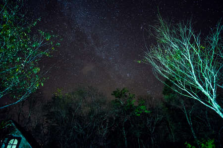 Long explosure and high ISO shot, Beautiful Milky way and star over the mountain.
