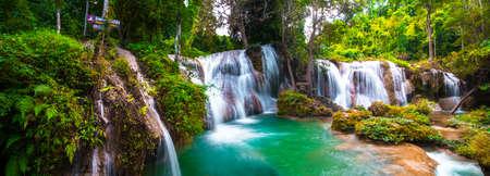 Panorama shot, Than sawan Waterfall, Payao, Thailand, Long explosure shot, Beautiful green waterfall in the nature at sunset.