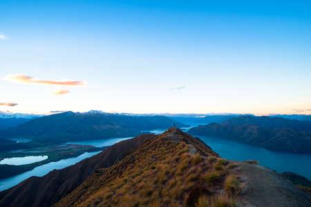Beautiful landscape of the mountains and Lake Wanaka. Roys Peak Track, South Island, New Zealand.