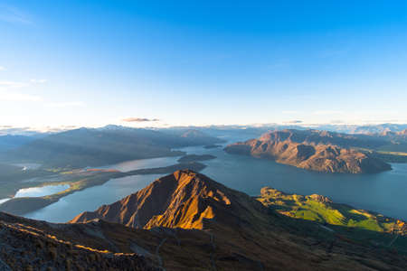 Beautiful landscape of the mountains and Lake Wanaka. Roys Peak Track, South Island, New Zealand.