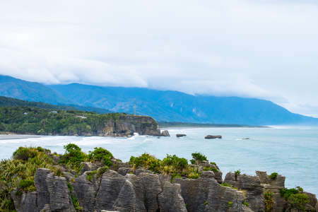 Pancake rocks, West coast, New Zealand. Cloudy day.