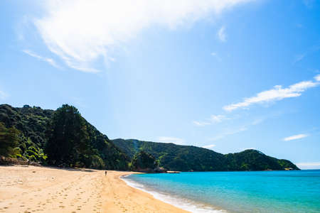 People walking on the beautiful beach along the coastline in Abel Tasman National Park, South Island, New Zealand.