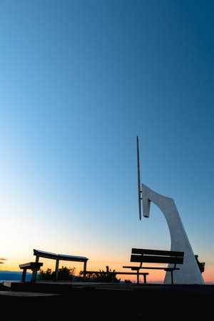 Centre of New Zealand monument at sunset.