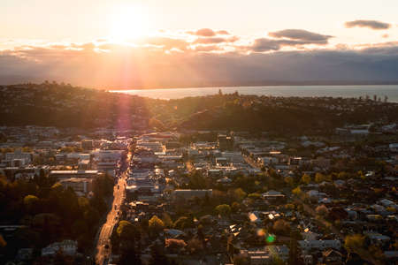 2018, September 29 - Nelson, New Zealand, View of Nelson Town at sunset. Stock Photo