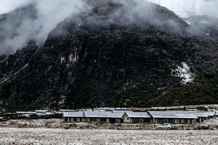 View of Mount Cook Village covered with white fresh snow after a snowy day.