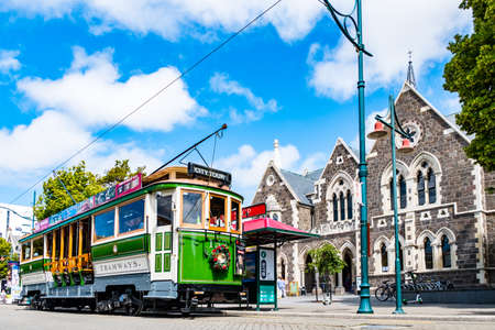 2018 DEC 22, New Zealand, Christchurch, Tram and toursit in city centre..