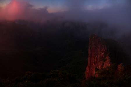 Stunning sunrise scene over The Pinnacles, Coromandel, New Zealand..
