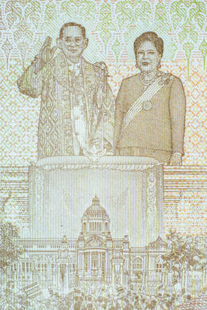 The story and biography of King Rama 9 on Thai Banknotes. Macro 1:1 Photograph.. Stok Fotoğraf