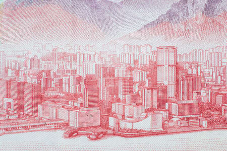 The detail of Hokong banknotes.  Macro 1:1 Photograph.