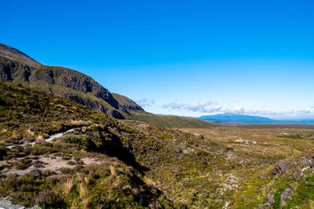 Beautiful Landscape view of Tongariro Crossing track on a beautiful day with blue sky, North Island, New Zealand..
