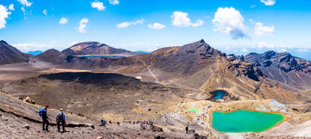 New Zealand, North Island, Panorama Landscape view of a beautiful of Tongariro Crossing track on a beautiful day with blue sky..