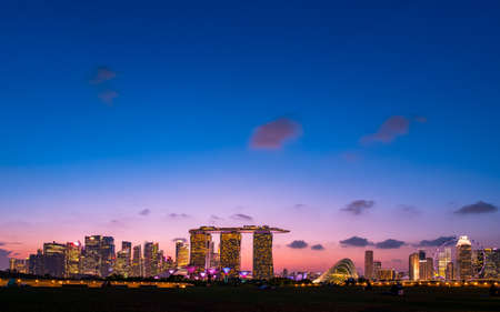 2019 March 02 - Singapore, Marina Barrage, View of the city and buildings at dusk.