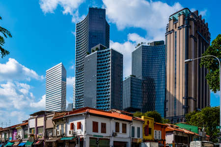 2019 March 1st., Singapore - View of the modern and old Chinese traditional buildings in the city..