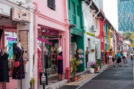 2019 March 1st, Singapore, Haji Lane - People are shopping and walking in the famous small street in the City..