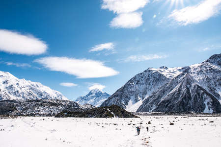 Beautiful view of Mount Cook National Park covered with snow after a snowy day.