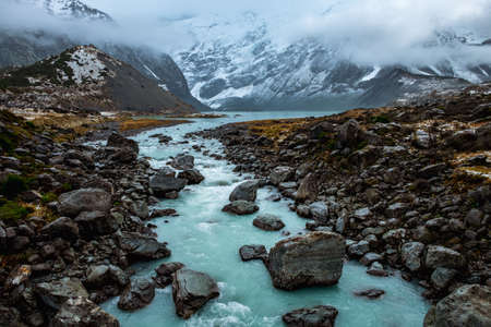 Beautiful view of the blue turquoise river in Hooker Valley track. Mount Cook National Park.