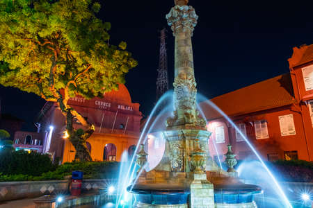 2019 May 8th, Malaysia, Melaka - Long exposure view of the building and fountain at the Dutch square at night..