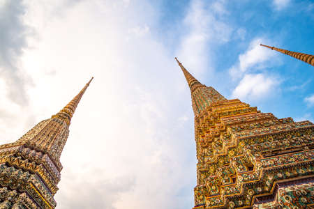 Beautiful exterior of the Thai's Temple Architecture. Wat Phra Chetuphon (Wat Pho), Bangkok, Thailand