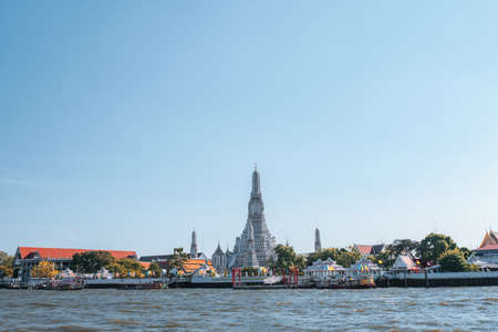 View of the city and buildings and people lifestyle along the Chao Phraya river.