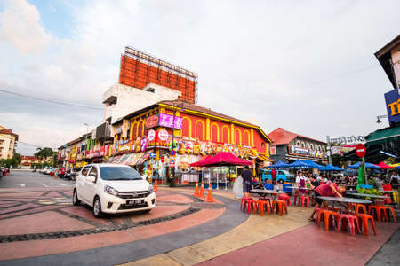 2019 May 9th, Malaysia, Perak, Ipoh, View of the city. Road, buildings and restaurant in the city.