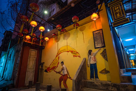 2019 May 15th, Malaysia, Perak, Ipoh, View of Concubine Lane in the old town at night.