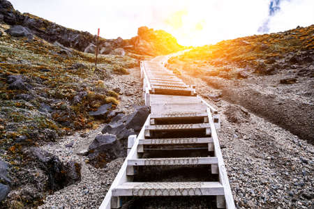A steep staircase to the top of the mountain. Summit tract, Mount Taranaki, New Zealand. Stockfoto