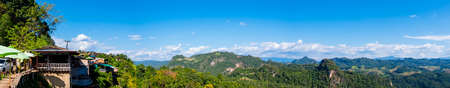 Beautiful scenic landscape Panorama view of mountain and nature at Ban Jabo, Mae Hong Son, Thailand. The famous destination in Northern, Remarkable viewpoint platform.
