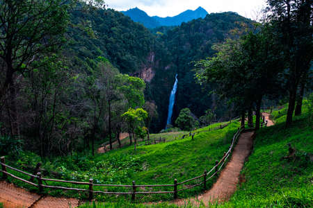 View of Mae Surin Waterfalls, Khun Yuam District, Mae Hong Son, Thailand. National Park. Green nature scenery.