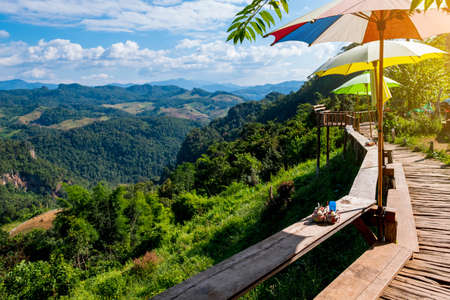 Beautiful scenic landscape mountain and nature at Ban Jabo, Mae Hong Son, Thailand. The famous destination in Northern, Remarkable viewpoint platform.