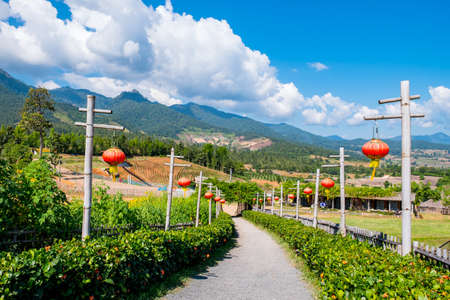 Yun Lai Viewpoint, Santichon Village, Pai, Mae Hong Son, Thailand, The historical place and building of Chinese Yunan settlement in the north of Thailand.