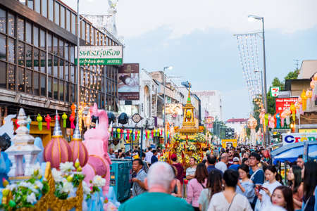 2019 November 12th, Chiang Mai, Thailand. - tourists come to see the parade during Loy Krathong and Yi Peng Festival.