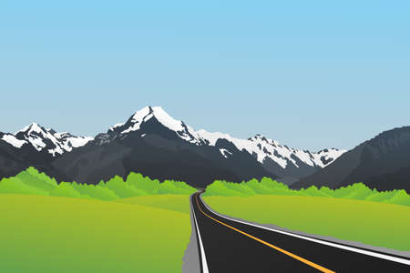 Snow mountain, Mount Cook, Southern Alps, New Zealand. Vector background, Illustration.