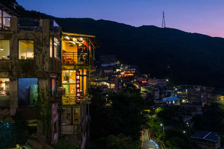 TAIWAN, NEW TAIPEI, Juifen Village, OCT 2nd, 2019 - Landscape view of teahouse and mountain at night. Stock Photo