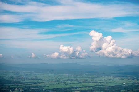 Panorama landscape view of the mountain and clouds. Payao, Thailand. 免版税图像