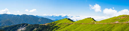 Beautiful Scenery panorama view green bamboo grass cover on the mountain with  blue sky at Hehuanshan Main Peak, Wuling, Nantou County, Taiwan